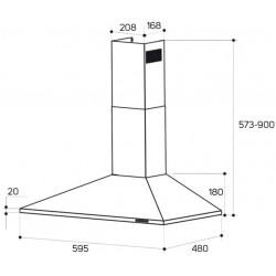 TAURUS SCALA60INOX CAMPANA 60CM, 350 m3/h, 3 NIVELES DE EXTRACCIÓN