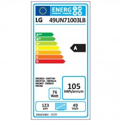 LG 49UN71003LB TELEVISOR 49 LED LED-4K Resolución: 3840x2160 (4K) SMART TV 5.0, WiFi / Bluetooth.
