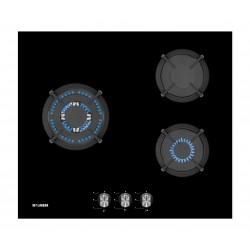 KONEN KCRISTAL3FMIS PLACA DE GAS 3F Soportes de hierro fundido. Mando frontal. Color cristal negro.