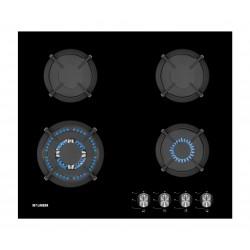 KONEN KCRISTAL4FMIS PLACA GAS 4F Soportes de hierro fundido. Mando frontal. Color cristal negro.